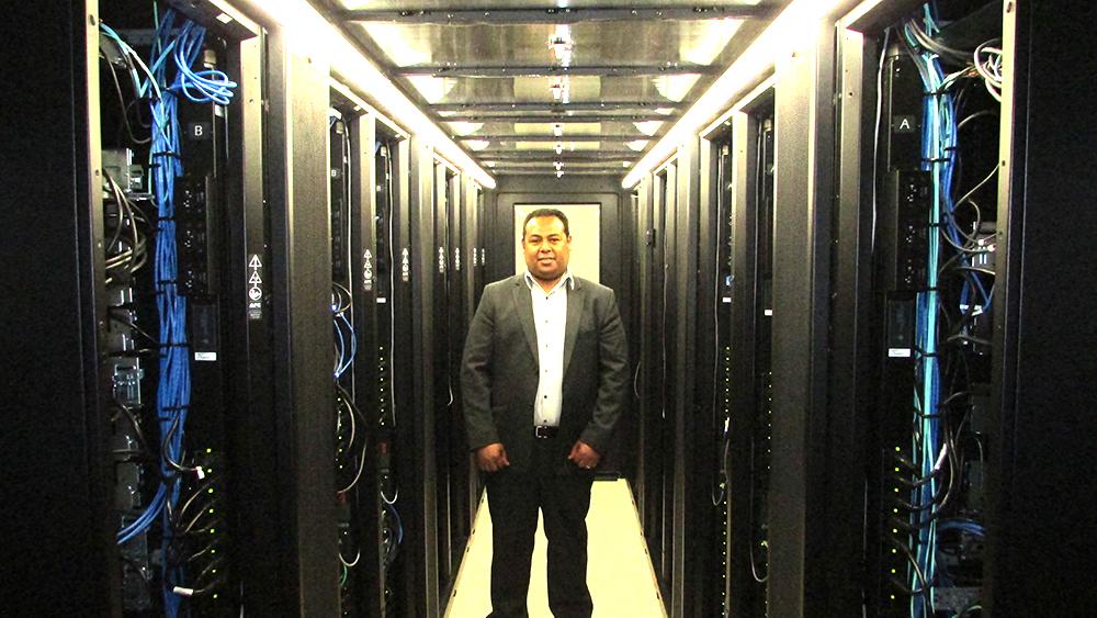 Khaled Barakat and the IBM Blue Gene/Q supercomputer.