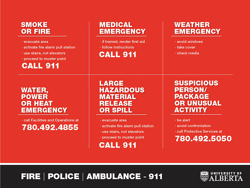 Emergency Numbers: Call 911 for the fire department, police or ambulance. Call 911 or smoke, fire, large hazardous material spills or medical emergencies. Call 780-492-4855 for water, power or heat emergencies. Call 780-492-5050 to report suspicious persons or packages or unusual activity. For weather emergencies, avoid windows, take cover and check the news media.