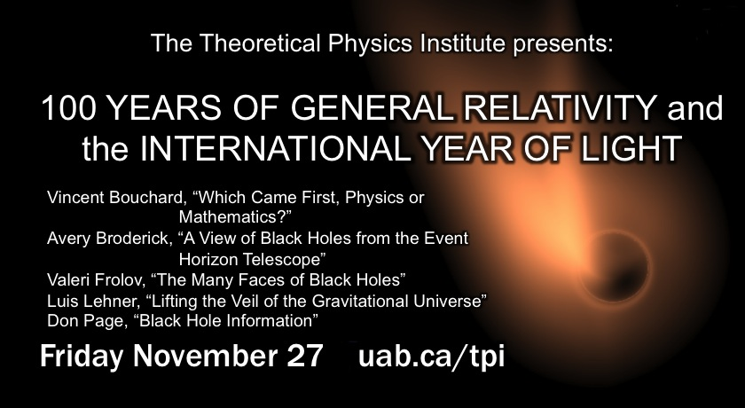 TPI Mini-Symposium: 100 Years of General Relativity and the International Year of Light