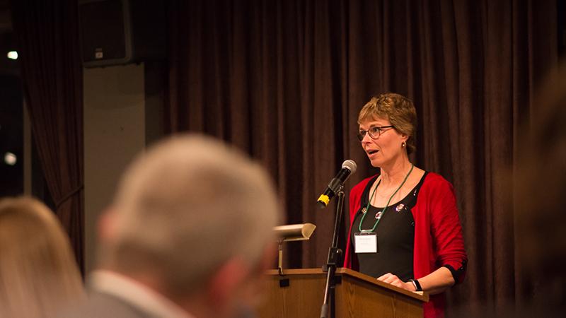 Renewable Resources Chair Ellen Macdonald speaking