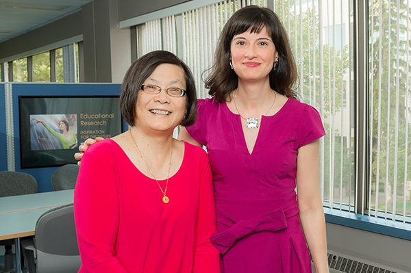 Photo of Lan Chan-Marples, research facilitator and Dr. Maria Cutumisu, Faculty of Education