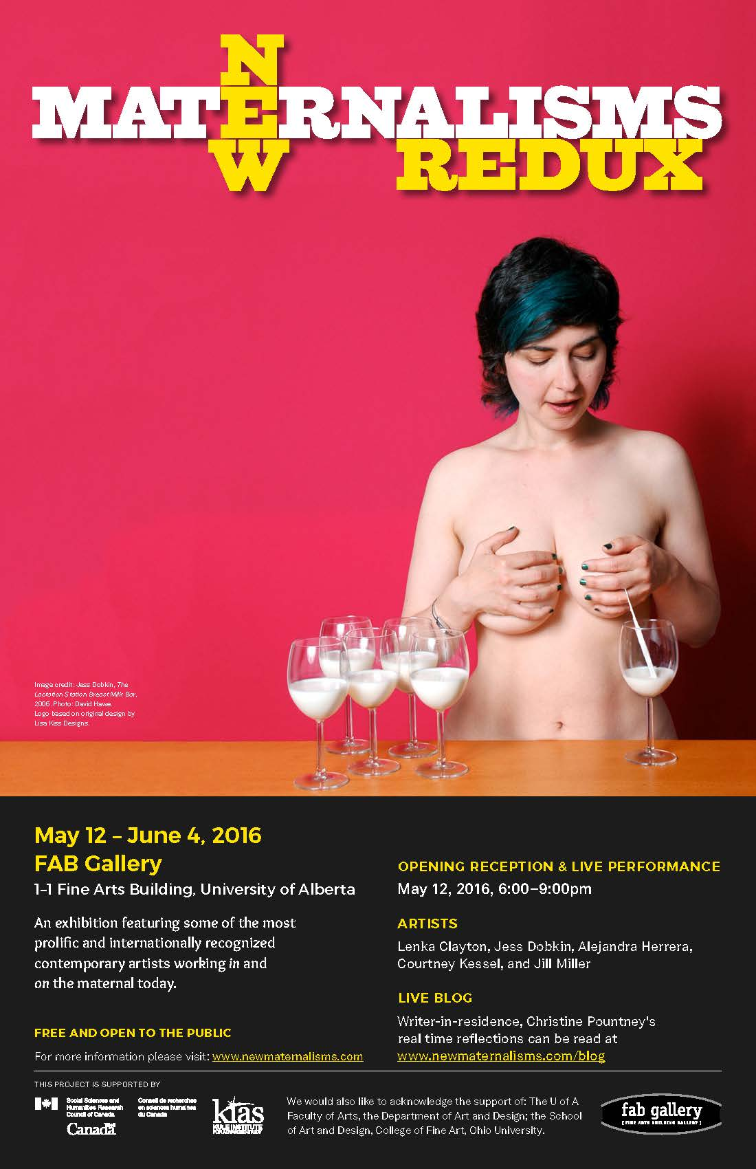 Poster for the 2016 exhibition 'New Maternalisms Redux' held at the Fine Arts Building Gallery at the University of Alberta.