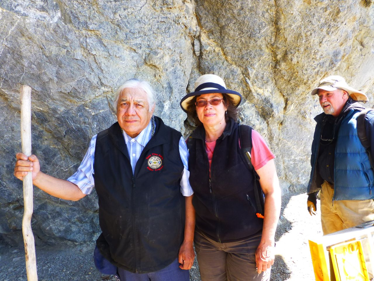 Elder Bruce Starlight, linguist Sally Rice and archaeologist Jack Ives at the Promontory Cave