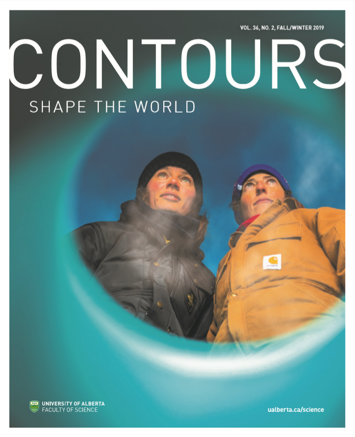 "Fall 2019 Contours magazine cover. White texting reading ""Contours Shape the World"" over an image of Ali Criscitiello, Director of the Canadian Ice Core Lab, and Ashley Ashley Dubnick, postdoctoral fellow in the Department of Earth and Atmospheric Sciences."