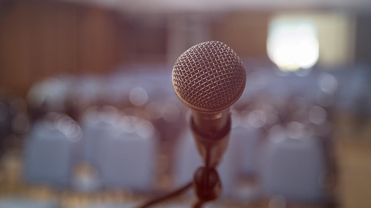 Grace Anne Stewart Speaker Series microphone in conference room