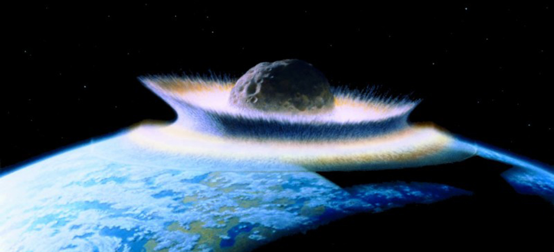 Asteroid crashing into primordial earth