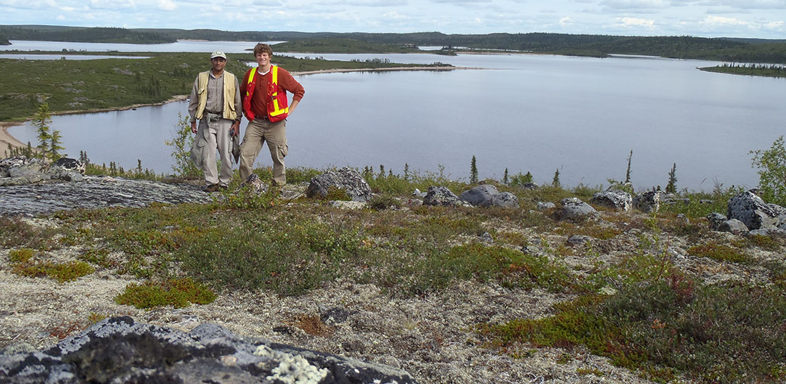 Jesse Reimink (R) and Tom Chacko (L) in the Northwest Territories, roughly 300km North of Yellowknife near the field locality of one of the world's oldest rock formations.