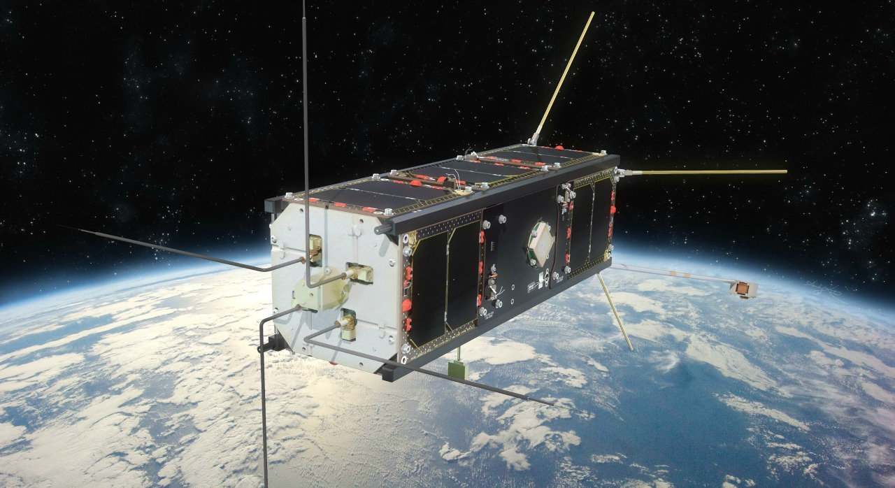 Artist's rendering of Ex-Alta 1 orbiting space (courtesy Andy Kale for UAlberta)