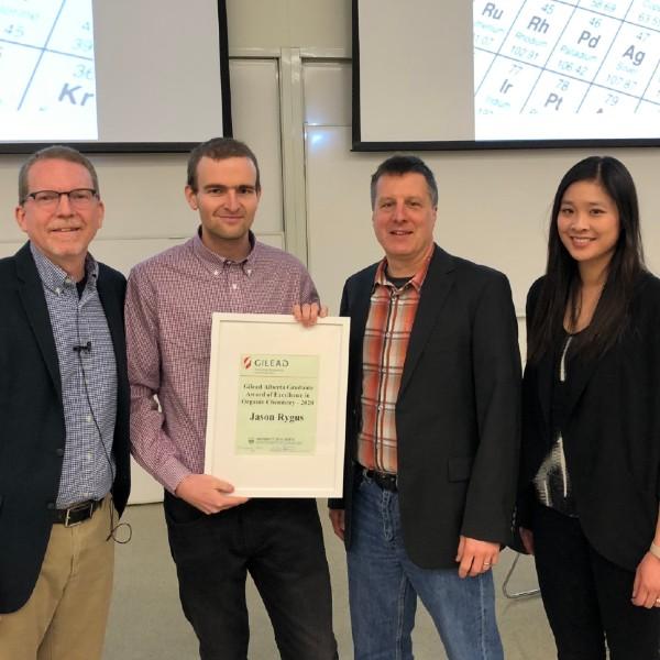 From left to right, Professor James Morken, Jason Rygus, Professor Rik Tykwinski, Dr. Ho-Yan Sun.