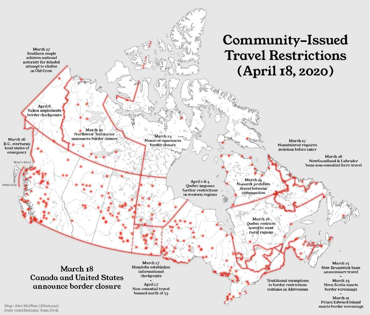 Student-generated map visualizes travel restrictions of COVID-19 in Northern Canada.