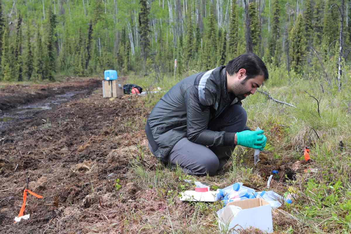 PhD student Alireza Saidi-Mehrabad is pictured here in doing field work, collecting samples used in the paper.