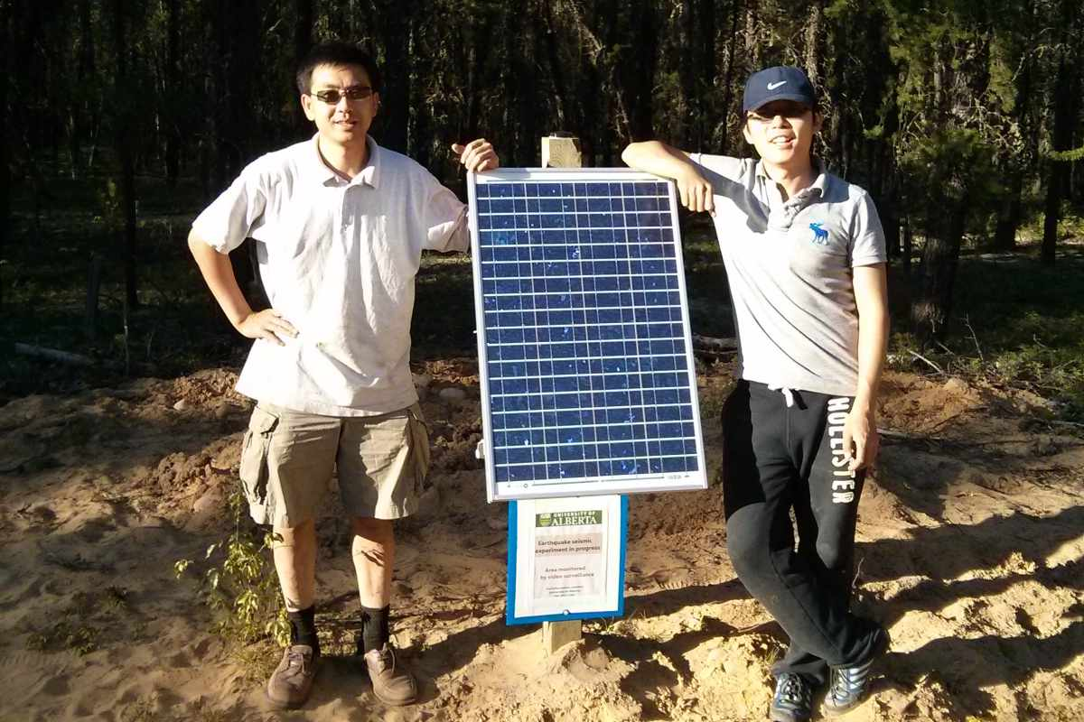 Jeffrey Gu (right) and Yunfeng Chen (left) are pictured here at a data collection site near Fort Mackay, Alberta.