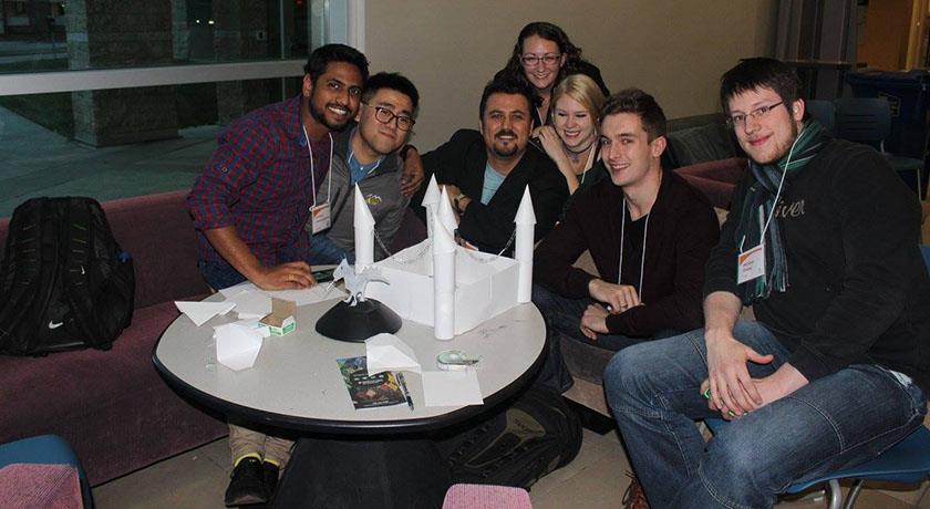 Canadian and German ATUMS students working together on a team building exercise. Telus Centre, U of A, Nov. 1, 2015