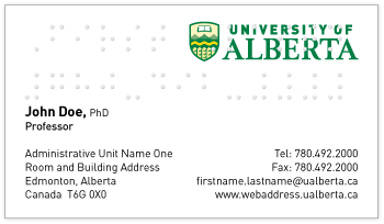 Business cards marketing communications toolkit with braille colourmoves