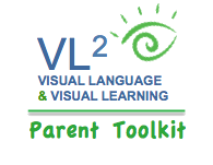 VL2 | Visual Language & Visual Learning Parent Toolkit logo with green eye